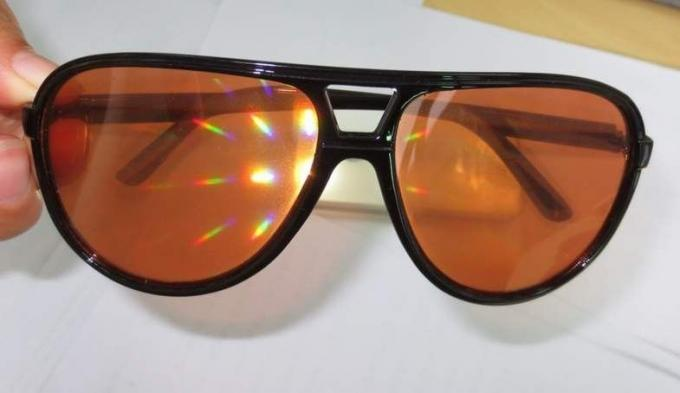 Amber Plastic Diffraction Glasses Aviator Style With Spiral Effect