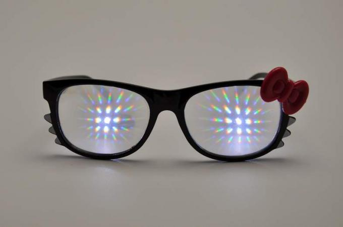 Firework Plastic Diffraction Glasses , Hello Kitty Rainbow Glasses