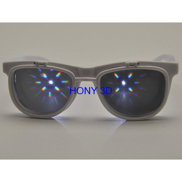 Flip Up Plastic 3D Diffraction Glasses For Music Party / Dance Event