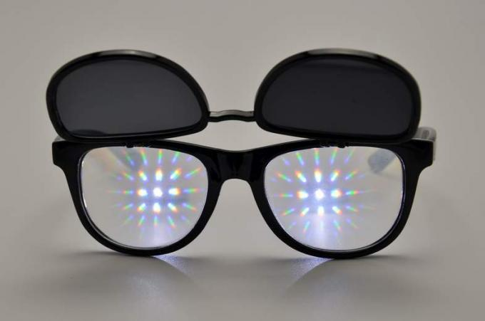 Kids Colored 3D Fireworks Glasses , Double Diffraction Glasses