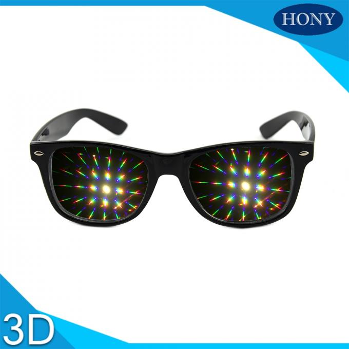 Plastic 3D Diffraction Glasses With Fireworks Lens Classica , Black
