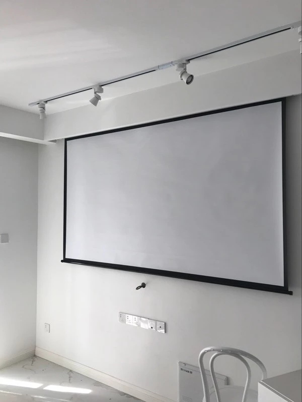 2D 3D Seamless Silver Projection Screen , Remote Control Electric Projector Screen