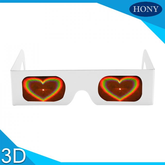 Heart Diffraction Glasses Rainbow Paper Glasses 250g Customzed Printing