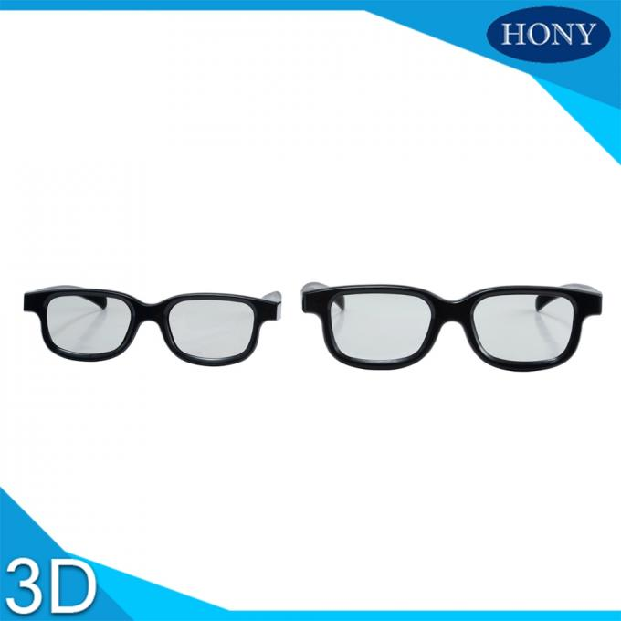 Long Time Use Linear Polarized 3D Glasses Anti Scratch Film Black Frame