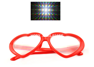 China Red Heart Frame Plastic Diffraction Fireworks 3D Rainbow Glasses For Party supplier
