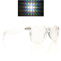 China Customized LOGO Rave Prism Grating Glasses Rainbow Fireworks / Spiral supplier