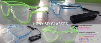China El Wire Plastic Diffraction Glasses With LED Lighting For Christmas Festival supplier