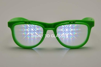 China Green Frame Plastic Diffraction Glasses , Flip Up Fireworks Glasses supplier