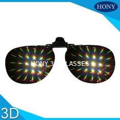 China Plastic Clip On Diffraction Glasses 13500 Lines Fireworks Eyewear For Christmas Party Use supplier