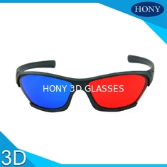 Plastic Anaglyph 3D Glasses Wide Angle Red Blue Lenses Black Frame