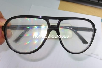 China Clear Lens Plastic Diffraction Glasses With Black Frame For Travel Site supplier
