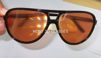 China Amber Plastic Diffraction Glasses Aviator Style With Spiral Effect supplier