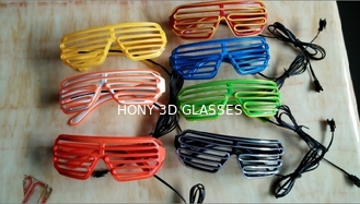 Fashionable Plastic Glowing El Wire Glasses For Party , Shutter Shades Sunglasses