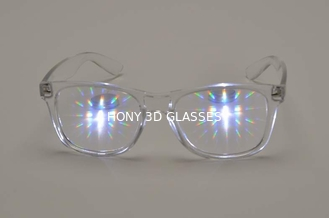 China Hony 3D Fireworks Glasses Clear Frame , PC 3D Glasses supplier
