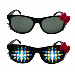 China Firework Plastic Diffraction Glasses , Hello Kitty Rainbow Glasses supplier