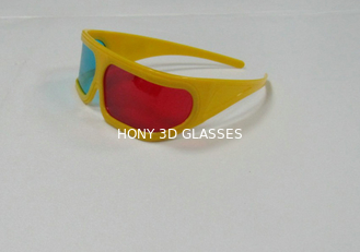 China Polarized Plastic Red Cyan 3D Cinema Glasses With Yellow Frame OEM ODM supplier