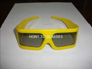 Yellow Plastic Frame Linear Polarized 3D Glasses For Tech Museum