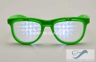 China Kids Colored 3D Fireworks Glasses , Double Diffraction Glasses supplier