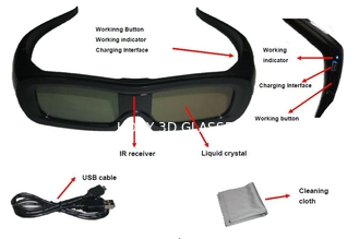 China Family Universal Active Shutter 3D Glasses USB Charge Reset Function supplier