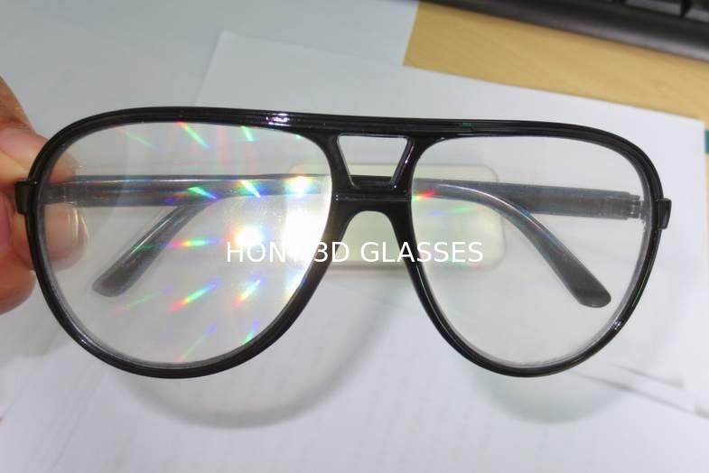 Clear Lens Plastic Diffraction Glasses With Black Frame For Travel Site