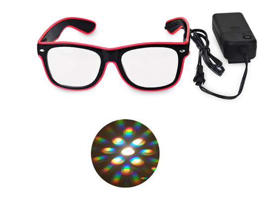 China El Wire Glow Led DJ Bright Light Safety Light Up LED flashing Diffraction glasses distributor