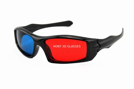 China Passive Plastic Red Cyan 3D Glasses , Anaglyph Red Blue Glasses distributor