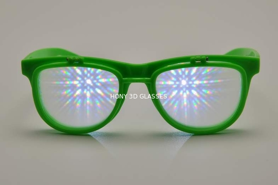 China Green Frame Plastic Diffraction Glasses , Flip Up Fireworks Glasses distributor