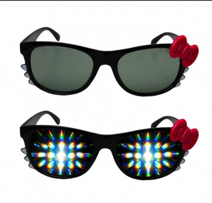 China Firework Plastic Diffraction Glasses , Hello Kitty Rainbow Glasses distributor