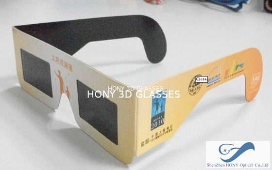 China Cheap Paper Frame Solar Eclipse Viewing Glasses With 0.20mm PET Lenses distributor