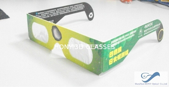 China Printing Paper Frame Solar Eclipse Glasses , 0.06mm PVC PET Laser Lenses Glasses distributor