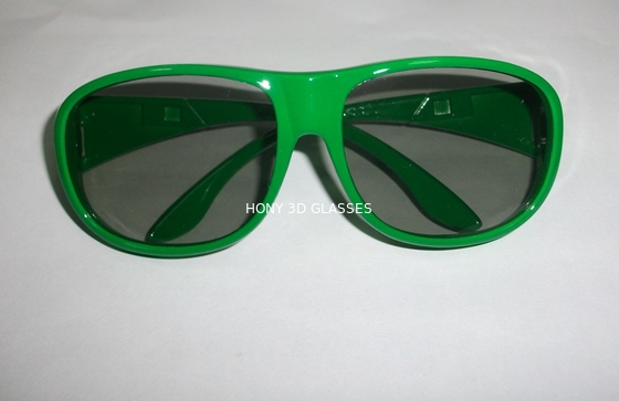China Green Plastic Circular Polarization 3D Glasses For Cinema Big Size factory