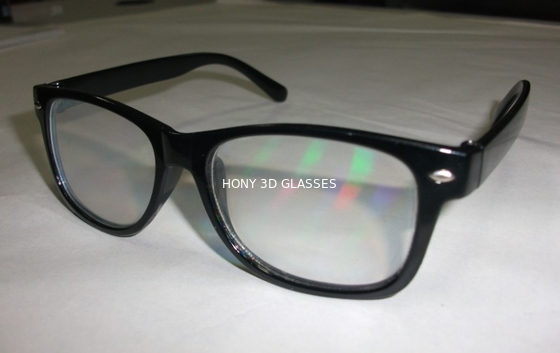 China Black Frame Diffraction 3D Glasses For Fireworks , Rainbow Viewing Glasses factory